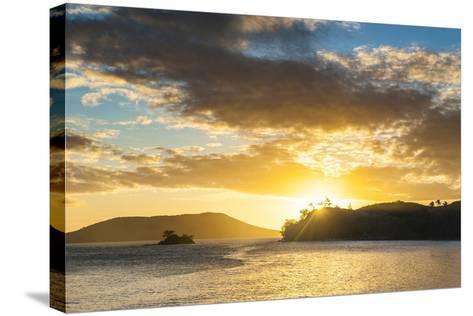 Sunset over the Beach, Nacula Island, Yasawa, Fiji, South Pacific-Michael Runkel-Stretched Canvas Print