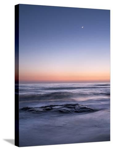 USA, California, La Jolla. Crescent Moon at Twilight over Windansea Beach-Ann Collins-Stretched Canvas Print