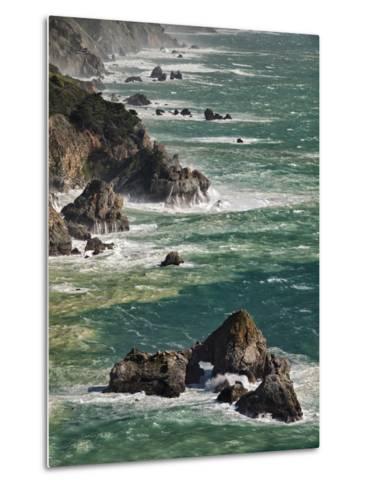 USA, California, Big Sur. Waves Hit Coast and Rocks-Ann Collins-Metal Print
