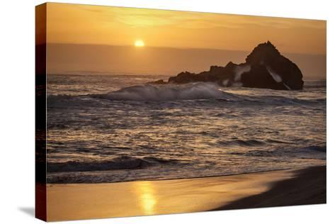 USA, California, Big Sur. Sunset and Splashes at Pfeiffer Beach-Ann Collins-Stretched Canvas Print
