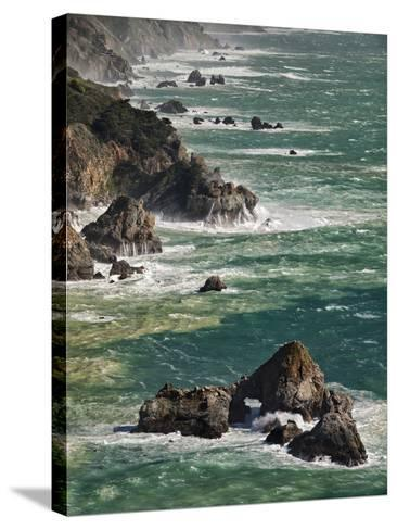 USA, California, Big Sur. Waves Hit Coast and Rocks-Ann Collins-Stretched Canvas Print