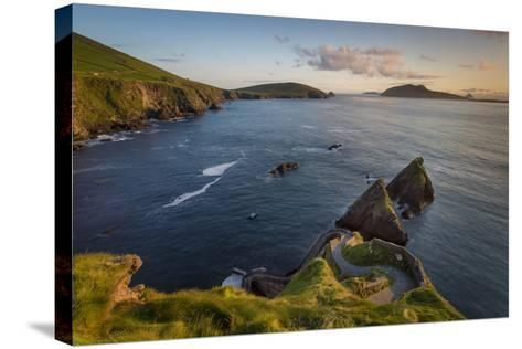 Sunset over Windy Road to Dunquin Harbor, Dunquin, County Kerry, Republic of Ireland-Brian Jannsen-Stretched Canvas Print