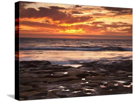 USA, California, La Jolla. Sunset over Tide Pools at Coast Blvd. Park-Ann Collins-Stretched Canvas Print