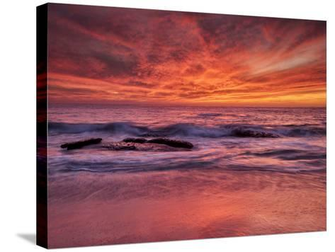USA, California, La Jolla. Sunset at North End of Windansea Beach-Ann Collins-Stretched Canvas Print