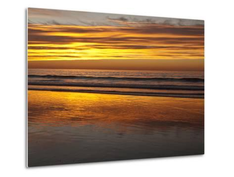 USA, California, La Jolla. Sunset Reflected on Beach at La Jolla Shores-Ann Collins-Metal Print