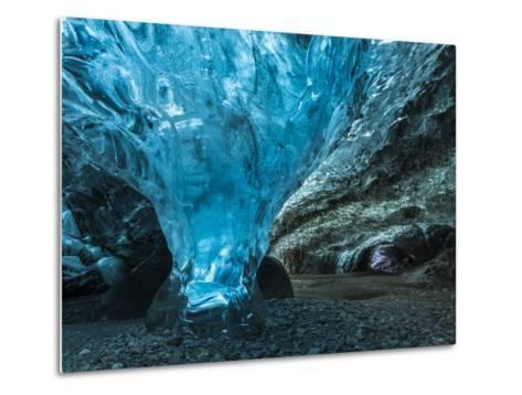 Ice Cave in the Glacier Breidamerkurjokull in Vatnajokull National Park-Martin Zwick-Metal Print