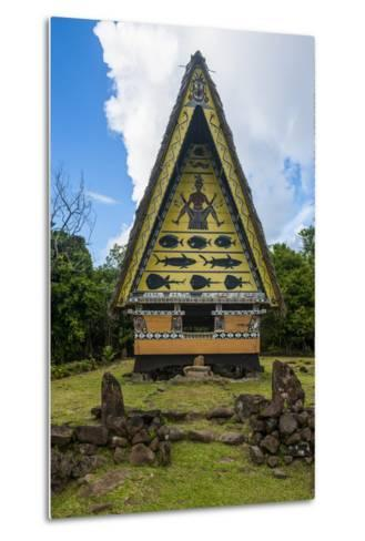 Old Bai, Chief's House the Island of Babeldaob, Palau, Central Pacific-Michael Runkel-Metal Print