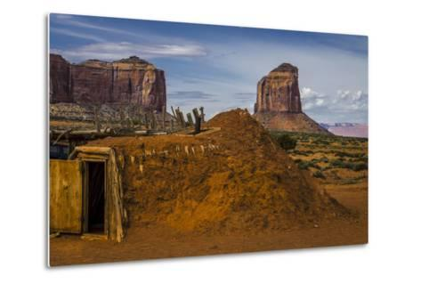 Native American Hogan's and Mitchell Butte in Monument Valley Tribal Park of the Navajo Nation, Az-Jerry Ginsberg-Metal Print