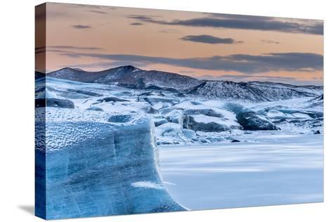 Svinafellsjoekull Glacier in Vatnajokull During Winter. Glacier Front and the Frozen Glacial Lake-Martin Zwick-Stretched Canvas Print