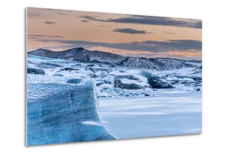 Svinafellsjoekull Glacier in Vatnajokull During Winter. Glacier Front and the Frozen Glacial Lake-Martin Zwick-Metal Print