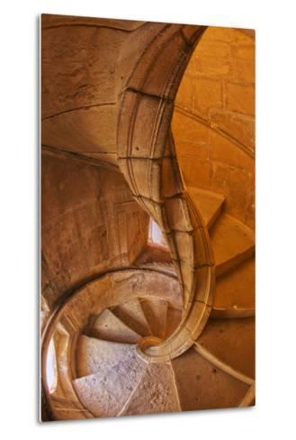 Portugal, Tomar, Spiral Stone Staircase in Convento De Cristo-Terry Eggers-Metal Print