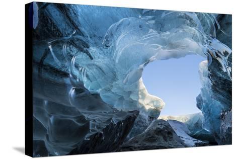 Ice Cave in the Glacier Breidamerkurjokull in Vatnajokull National Park. Entrance to the Ice Cave-Martin Zwick-Stretched Canvas Print