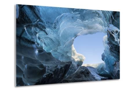 Ice Cave in the Glacier Breidamerkurjokull in Vatnajokull National Park. Entrance to the Ice Cave-Martin Zwick-Metal Print