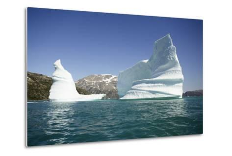 Greenland, Skjoldungen Fjord, Large Sculptural Icebergs with Scenic Snow Capped Mountains-Aliscia Young-Metal Print