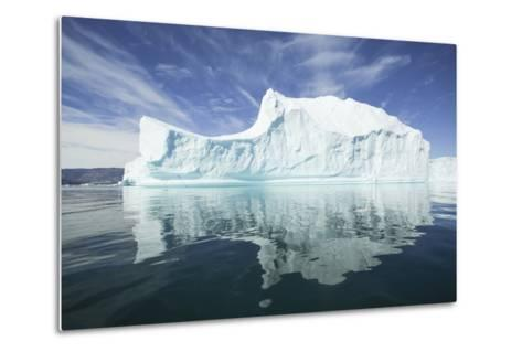 Greenland, Scoresby Sund, Red Island, Large Iceberg in a Small Ripple of Water-Aliscia Young-Metal Print