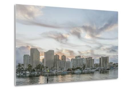 Hawaii, Honolulu, Waikiki Skyline at Sunrise-Rob Tilley-Metal Print