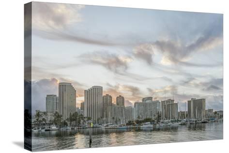 Hawaii, Honolulu, Waikiki Skyline at Sunrise-Rob Tilley-Stretched Canvas Print