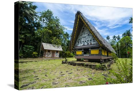 Oldest Bai of Palau, House for the Village Chiefs, Island of Babeldaob, Palau, Central Pacific-Michael Runkel-Stretched Canvas Print