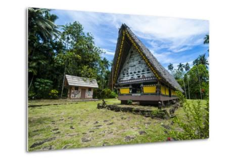 Oldest Bai of Palau, House for the Village Chiefs, Island of Babeldaob, Palau, Central Pacific-Michael Runkel-Metal Print