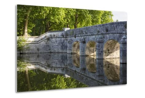Old Stone Bridge Reflecting in River Cosson at Chateau Chambord, Loire Valley, France-Brian Jannsen-Metal Print