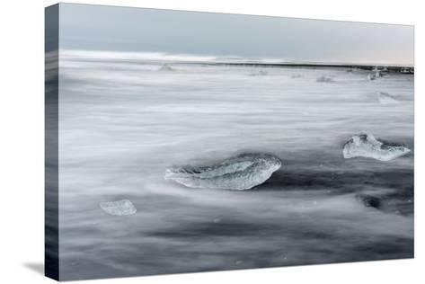 Icebergs on Black Volcanic Beach. Beach Near the Glacial Lagoon Jokulsarlon-Martin Zwick-Stretched Canvas Print