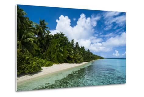 Paradise White Sand Beach in Turquoise Water in the Ant Atoll, Pohnpei, Micronesia-Michael Runkel-Metal Print