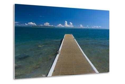 Pier with Cocos Island in the Background, Guam, Us Territory, Central Pacific-Michael Runkel-Metal Print
