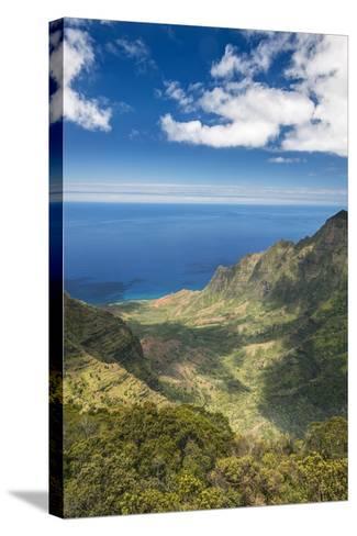 Hawaii, Kauai, Kokee State Park, View of the Kalalau Valley from Pu'U O Kila Lookout-Rob Tilley-Stretched Canvas Print