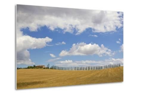 Italy, Tuscany. Cypress Tree Alley and Farm House-Jaynes Gallery-Metal Print