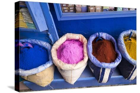 Morocco, Chaouen. Paint Pigments in Burlap Sacks-Emily Wilson-Stretched Canvas Print