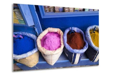 Morocco, Chaouen. Paint Pigments in Burlap Sacks-Emily Wilson-Metal Print