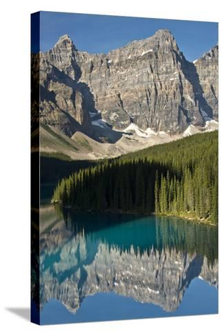 Morning, Moraine Lake, Reflection, Canadian Rockies, Banff National Park, Alberta, Canada-Michel Hersen-Stretched Canvas Print