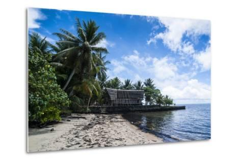 Traditional Thatched Roof Hut, Yap Island, Micronesia-Michael Runkel-Metal Print