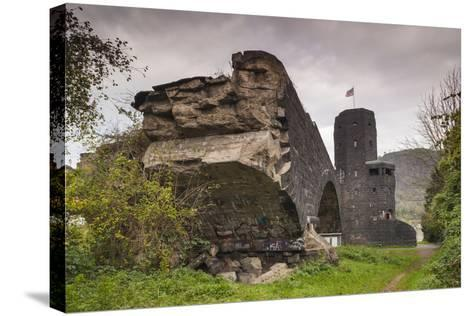 Germany, Rhineland-Pfalz, Remagen, Ruins of the Bridge at Remagen-Walter Bibikow-Stretched Canvas Print