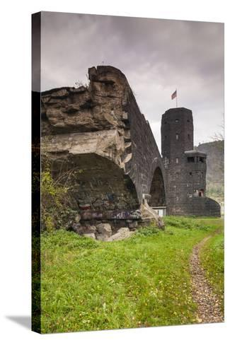 Germany, Rhineland-Pfalz, Remagen, Ruins of the Bridge at Remagen-Walter Bibikow-Stretched Canvas Print