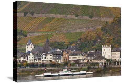 Germany, Rhineland-Pfalz, Kaub, Town and Rhine River Ferry in Autumn-Walter Bibikow-Stretched Canvas Print