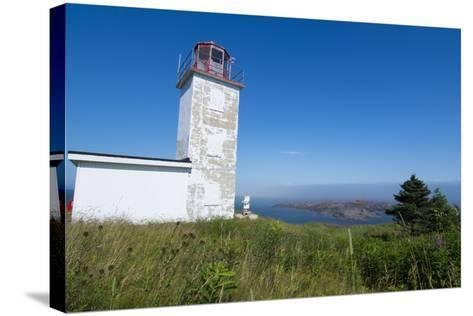Martins, New Brunswick, White Old Traditional Historic Lighthouse Ion Water with Fields on Cliff-Bill Bachmann-Stretched Canvas Print
