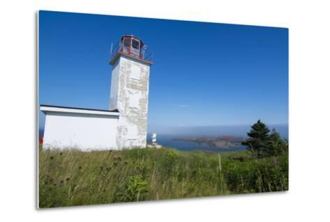 Martins, New Brunswick, White Old Traditional Historic Lighthouse Ion Water with Fields on Cliff-Bill Bachmann-Metal Print