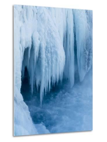 Godafoss Waterfall of Iceland During Winter-Martin Zwick-Metal Print