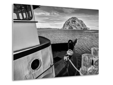 USA, California, Morro Bay, Fishing Boat Pointing at Morro Rock-Ann Collins-Metal Print