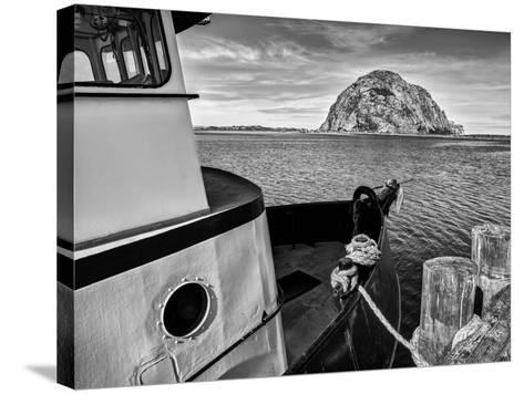 USA, California, Morro Bay, Fishing Boat Pointing at Morro Rock-Ann Collins-Stretched Canvas Print