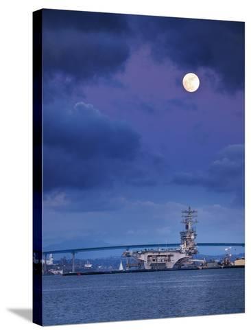 USA, California, San Diego, Uss Nimitz Moored under Full Moon in San Diego Bay-Ann Collins-Stretched Canvas Print