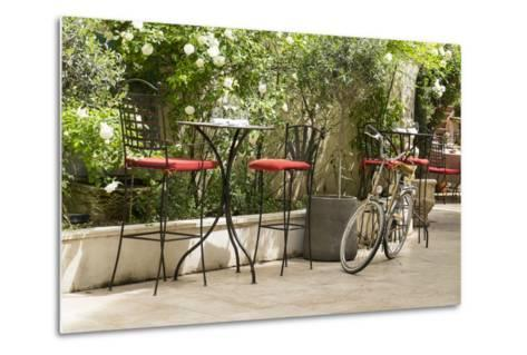 Southern France, St. Remy. Sidewalk Cafes-Emily Wilson-Metal Print