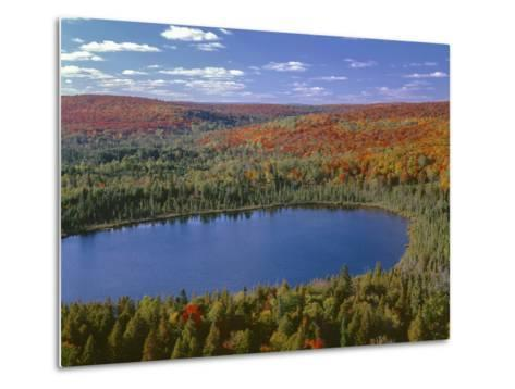 USA, Minnesota, Superior National Forest, Fall Colored Northern Hardwood Forest and Oberg Lake-John Barger-Metal Print