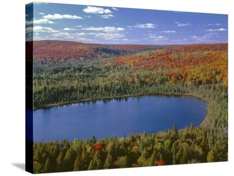 USA, Minnesota, Superior National Forest, Fall Colored Northern Hardwood Forest and Oberg Lake-John Barger-Stretched Canvas Print