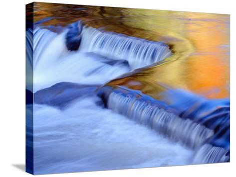 USA, Michigan, Ottawa National Forest, Fluid Cascade and Smooth Water Reflecting Fall Foliage-John Barger-Stretched Canvas Print