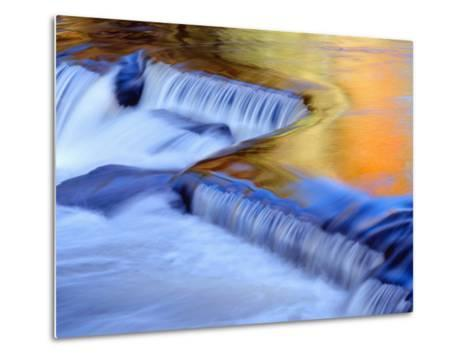 USA, Michigan, Ottawa National Forest, Fluid Cascade and Smooth Water Reflecting Fall Foliage-John Barger-Metal Print