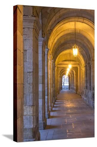Spain, Santiago. Archways and Door Near the Main Square of Cathedral Santiago De Compostela-Emily Wilson-Stretched Canvas Print
