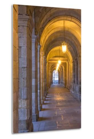 Spain, Santiago. Archways and Door Near the Main Square of Cathedral Santiago De Compostela-Emily Wilson-Metal Print
