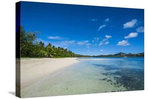 White Sand Beach and Turquoise Water at the Nanuya Lailai Island, Blue Lagoon, Yasawa, Fiji-Michael Runkel-Stretched Canvas Print